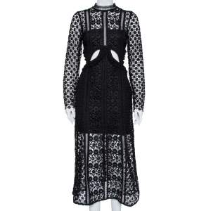 Self Portrait Black Guipure Lace Cutout Detail Maxi Dress M