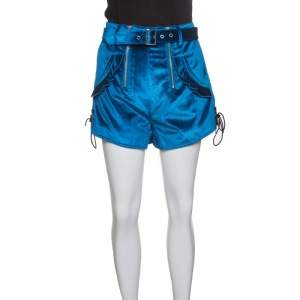 Self Portrait Peacock Blue Velvet Lace-up Cuff Belted High Waist Shorts S