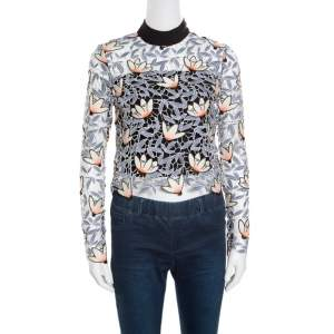 Self Portrait Dove Grey Floral Embroidered Cutout Guipure Lace Cropped Peony Blouse S