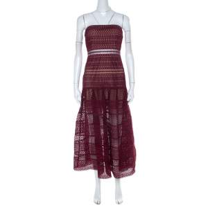 Self Portrait Burgundy Guipure Lace Strapless Drop Waist Midi Dress S