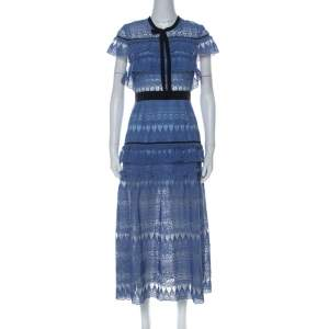 Self Portrait Blue Teardrop Guipure Lace Ruffled Daphne Midi Dress M
