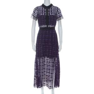 Self Portrait Purple Guipure-Lace Short Sleeve Midi Dress M