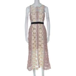 Self Portrait Pink-Beige & Yellow Floral Guipuire Lace Peter-Pan Collar Midi Dress M