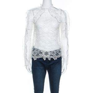 Self Portrait White Cutout Ruffle Detail Guipure Lace Top S