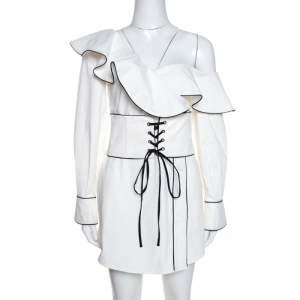 Self Portrait White Cotton One Shoulder Corset Belted Mini Dress S
