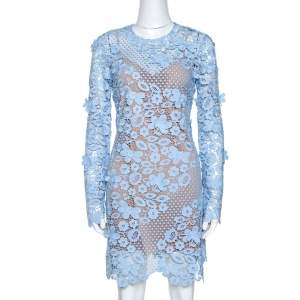 Self Portrait Pale Blue Floral Guipure Lace Long Sleeve Dress M