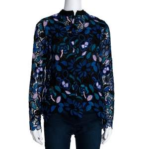 Self Portrait Multicolor Floral Guipure Lace Garden Top M