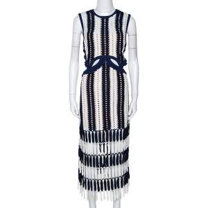 Self Portrait Navy Blue & White Crochet Knit Midi Dress L