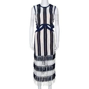 فستان سيلف بورتريت ميدي تريكو كروشيه أبيض وكحلي L