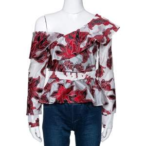 Self-Portrait Red & White Floral Fil Coupe One Shoulder Blouse S