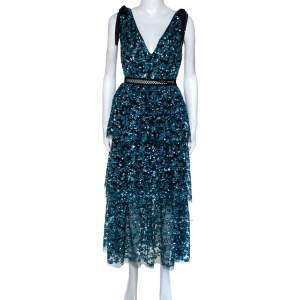 Self-Portrait Blue Sequin Embellished Tulle Tiered Midi Dress M