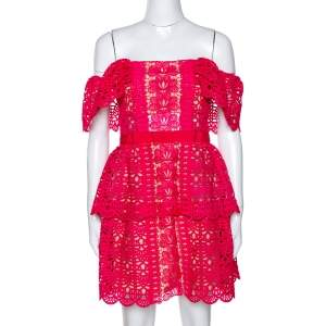 Self Portrait Fuschia Pink Guipure Lace Off Shoulder Mini Dress M