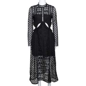 Self Portrait Black Guipure Lace Cutout Detail Payne Midi Dress M