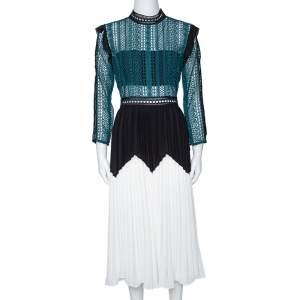 Self Portrait Green Panelled Guipure Lace Pleated Midi Dress M