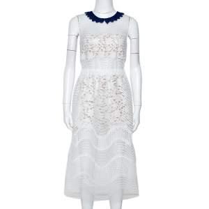 فستان سيلف بورتريت تفاصيل رومبر شبك ترتر أبيض M