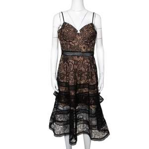 Self Portrait Black Paisley Lace Sleeveless Bustier Dress L