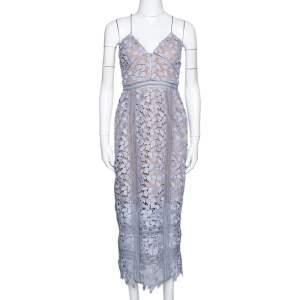 Self Portrait Lilac Guipure Lace Arabella Midi Dress M