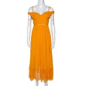 Self Portrait Orange Pleated Chiffon Off Shoulder Dress XS