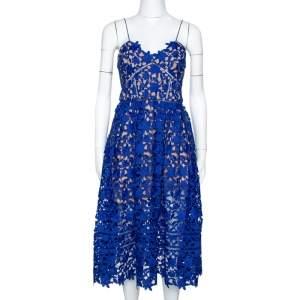 Self Portrait Cobalt Blue Floral Guipure Lace Azalea Dress M