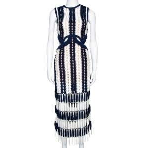 Self-Portrait Navy Blue & White Crochet Cutout Midi Dress M