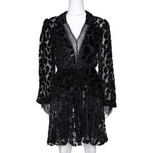 Self Portrait Black Metallic Leopard Devore Pleated Mini Dress L