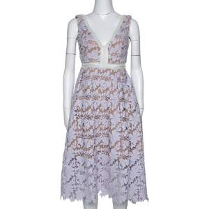 Self Portrait Pale Lilac Guipure Lace Sleeveless Midi Dress M