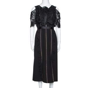 Self Portrait Black Crepe Lace Overlay Hinkley Midi Dress M
