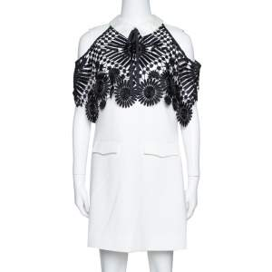 Self Portrait Monochrome Crepe Lace Cape Mini Dress M