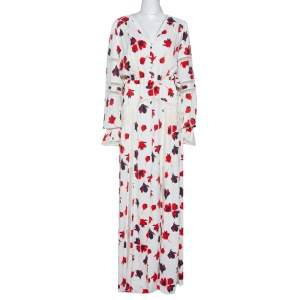 Self Portrait White Floral Print Crepe Flared Maxi Dress L