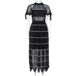 Self Portrait Black Crochet Guipure Lace Scallop Midi Dress S