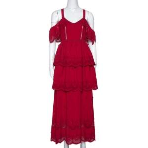 Self-Portrait Raspberry Red Lace Tiered Off Shoulder Dress S