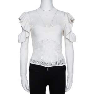 Self Portrait White Eyelet Knit Frill Cold Shoulder Top S