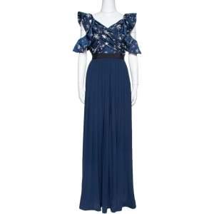 فستان بورتريه ساتان أزرق كحلي وكريب نجوم مزخرفة مقاس صغير - سمول