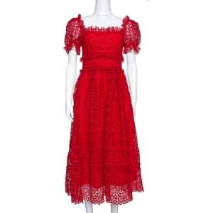Self Portrait Red Hibiscus Guipure Lace Short Sleeve Dress S
