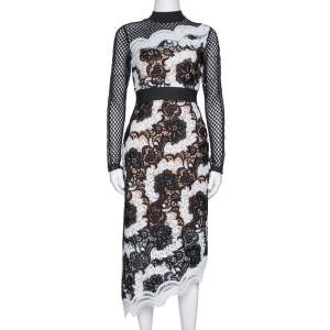 Self-Portrait Monochrome Guipure Lace Asymmetric Midi Dress S