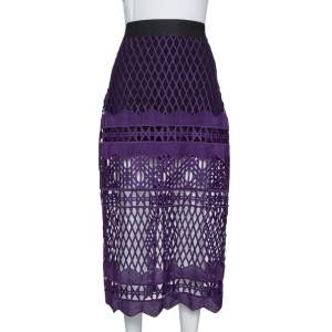 Self-Portrait Purple Cut Out Lace Midi Skirt M