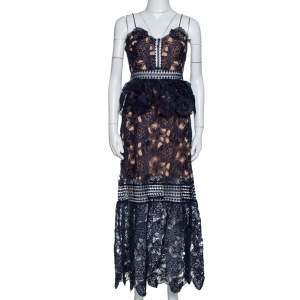 Self-Portrait Navy Blue Sheer Lace Paneled Amaryllis Column Dress M