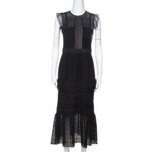 Self Portrait  Black Guipure Lace Ruffled Midi Dress M