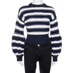 Self-Portrait Navy Blue & White Stripe Knit Cropped Sweater M