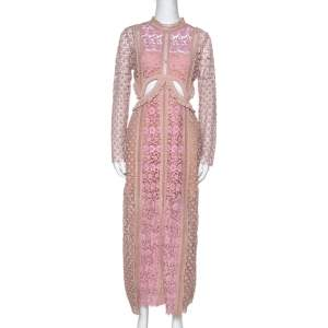 Self Portrait Beige & Pink Floral Lace Payne Cutout Dress M