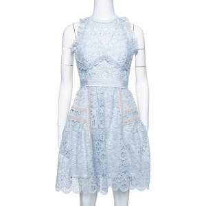 Self-Portrait Powder Blue Lace Halter Mini Dress S