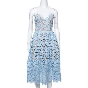 Self-Portrait Sky Blue Lace Azaelea Midi Dress S
