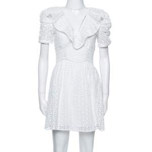 Self-Portrait White Cotton Broderie Anglaise Mini Dress S
