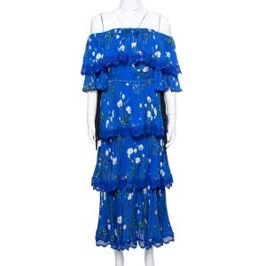 Self-Portrait Blue Floral Print Crepe Pleated Off Shoulder Dress XS