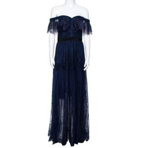 Self Portrait Navy Blue Lace Ruffled Maxi Dress M