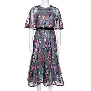 Self Portrait Black Floral Vine Collared Midi Dress M