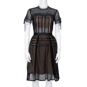 Self-Portrait Black Eyelet Lace Pleated Aurelia Dress S