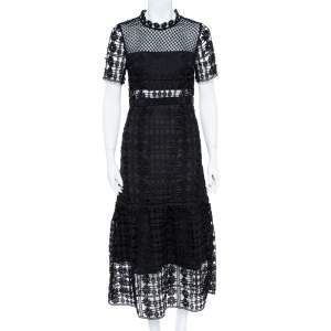 Self-Portrait Black Floral Lattice Lace Midi Dress M