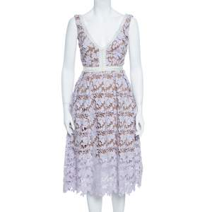 Self Portrait Pale Lilac Guipure Lace Sleeveless Midi Dress S