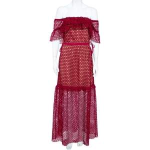 Self- Potrait Crimson Red Guipure Lace Off-Shoulder Maxi Dress M